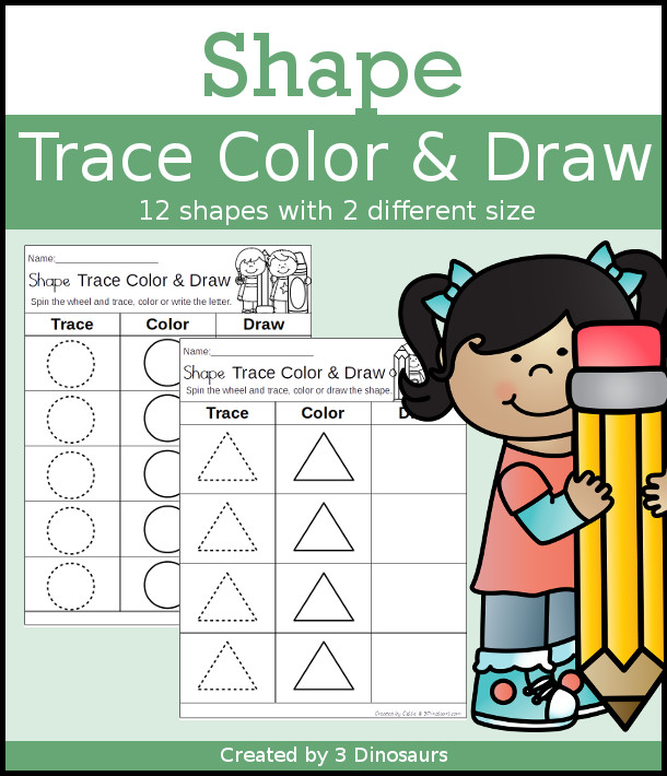 Shape Trace Color & Draw - 11 shapes in two sizes for kids to work on their shapes - 3Dinosaurs.com