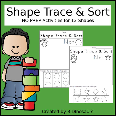Shape Trace & Sort: work on tracing and sorting their shapes in this easy no prep printable $ - 3Dinosaurs.com