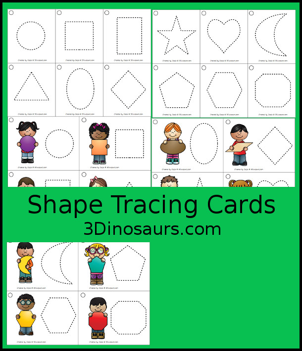 Free Shape Tracing Cards with 12 shapes with tracing only and tracing with picture. You can color, place objects on or playdough - 3Dinosaurs.com  #3dinosaurs #kindergarten #prek #shapes #freeprintable
