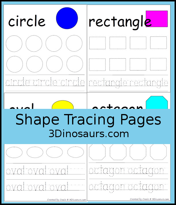 Shape Tracing Pages- 3Dinosaurs.com