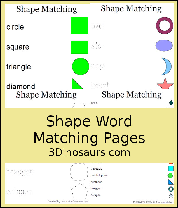Shape Word Matching Pages  - 3Dinosaurs.com
