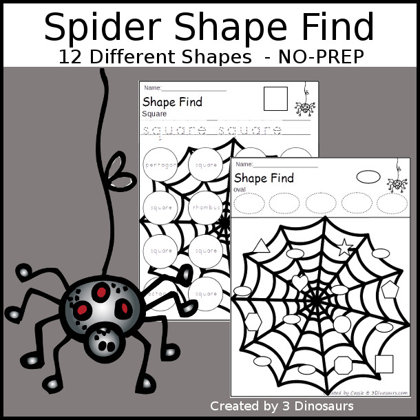 Spider Themed Shape Find: shape and shape word with tracing $ - 3Dinosaurs.com