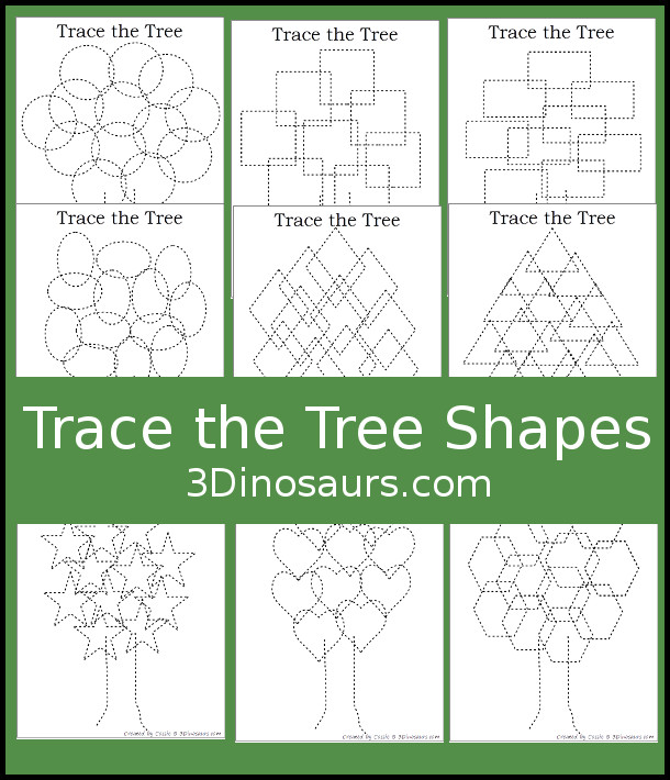 Free Tree Shape Trace and Color - 12 pages to trace and color that works great for all seasons - 3Dinosaurs.com #finemotor #shapesforkids
