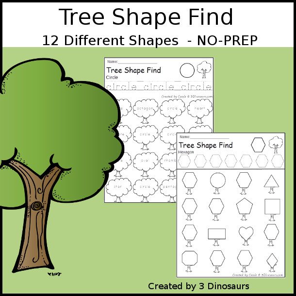 Tree Themed Shape Find: shape and shape word with tracing $ - 3Dinosaurs.com