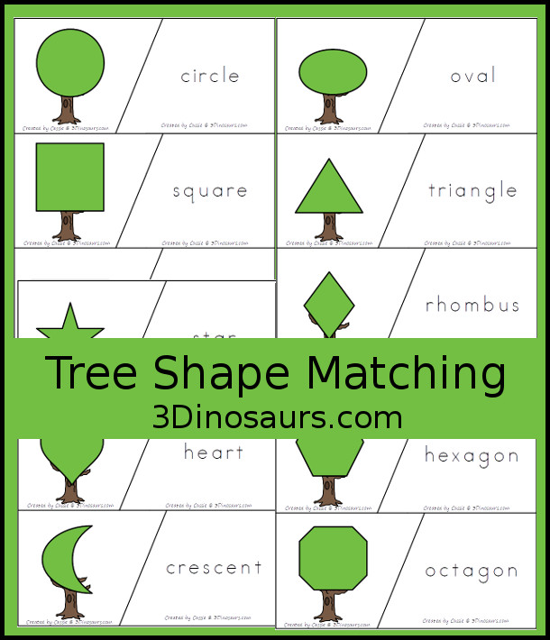 Free Tree Shape Matching Cards - 12 shape matching cards for kids to use with tree made from shapes - 3Dinosaurs.com