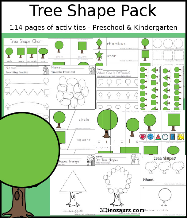 Tree Shape Pack - has 114 pages of printables for kids to work on shapes with trees. There are tracing, writing, puzzles, clip cards, easy reader book, patterns and more - 3Dinosaurs.com