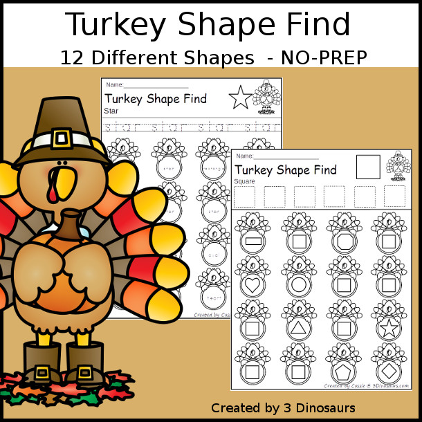 Turkey Themed Shape Find: shape and shape word with tracing $ - 3Dinosaurs.com
