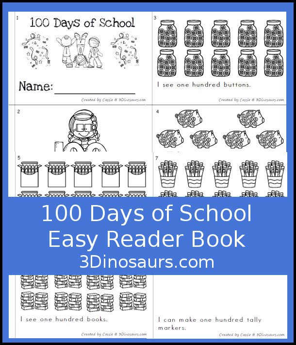 Free 100 Days of School Book - fun ways to count to 100 in a easy to use book - 3Dinosaurs.com