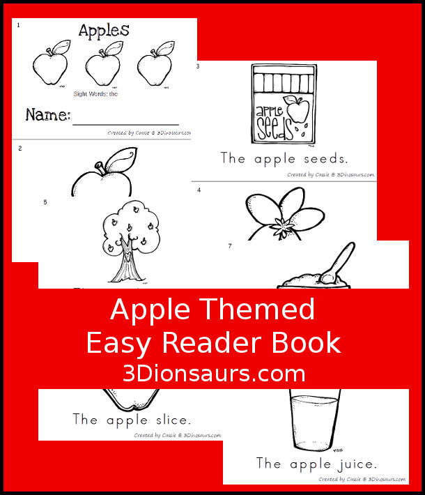 Free Apple Easy Reader Book - 3Dinosaurs.com