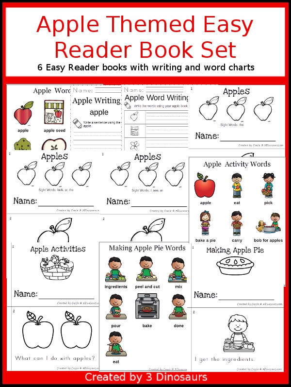 Apple Easy Reader Books: 6 books and writing activities to pick from $ - 3Dinosaurs.com