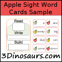 Sight Word Apple Theme Cards Sample