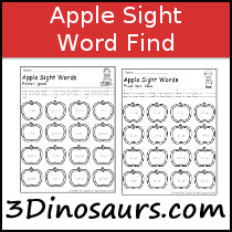 Sight Word Apple Find Samples