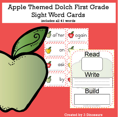 Apple Theme Dolch First Grade Sight Words - all 41 words in the Dolch First $ - 3Dinosaurs.com