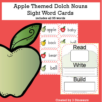Apple Theme Dolch Noun Sight Words - all 95 words in the Dolch Nouns $ - 3Dinosaurs.com