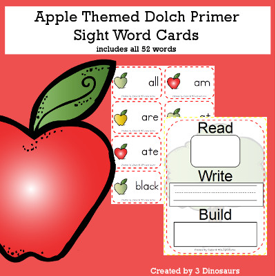 Apple Theme Dolch Preprimer Sight Words - all 52 words in the Dolch Primer $ - 3Dinosaurs.com