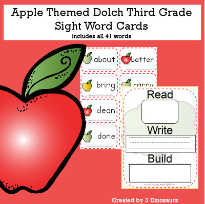Apple Theme Dolch Third Grade Sight Words - all 41 words in the Dolch Third Grade $ - 3Dinosaurs.com