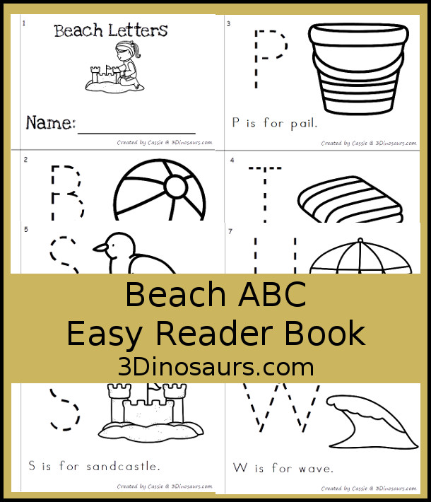 Free Fun Beach Themed ABC Easy Reader Book - 8 page book with abc themes for a beach theme - 3Dinosaurs.com