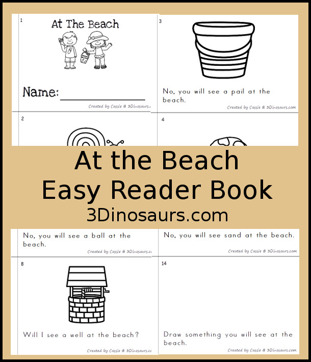 Free Beach Themed Easy Reader Book - 14 pages with rhyming with beach words - 3Dinosaurs.com