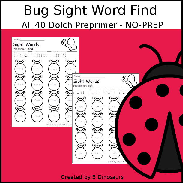 Bug Sight Word Find: Preprimer - easy to use no-prep printable - all 40 Dolch Preprimer sight words $ - 3Dinosaurs.com