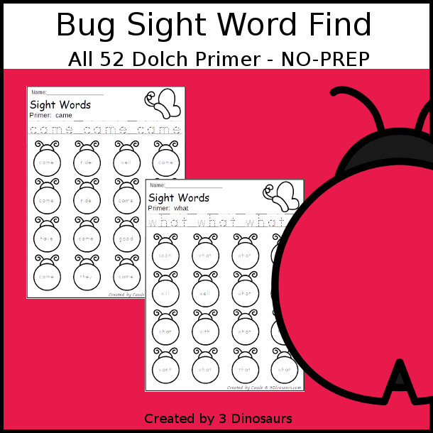 Bug Sight Word Find: Primer - easy to use no-prep printable - all 52 Dolch Primer sight words $ - 3Dinosaurs.com