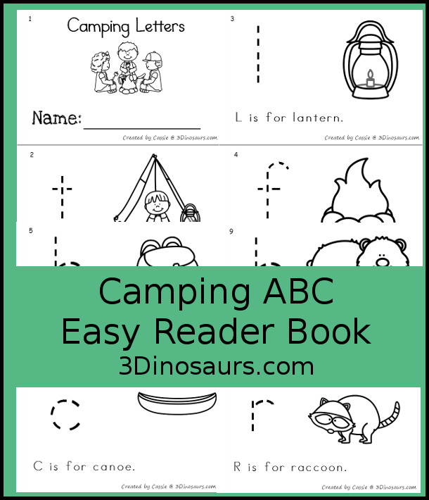 Free Camping Themed ABC Easy Reader Book - 10 page book with abc themes for a camping themes with tracing and reading - 3Dinosaurs.com
