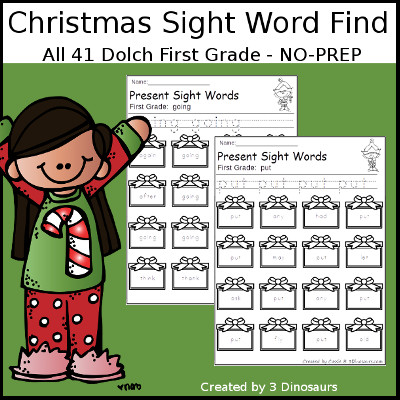 Christmas Sight Word Find: First Grade - 3Dinosaurs.com