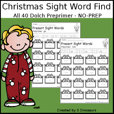 Christmas Sight Word Find: Preprimer - 3Dinosaurs.com
