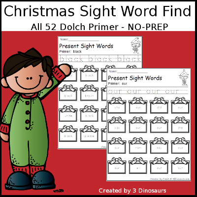 Christmas Sight Word Find: Primer - 3Dinosaurs.com