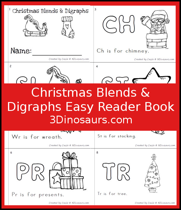 Free Christmas Theme Blends & Digraphs Easy Reader Book - 6 page book with sight words: is, for and blends and digraphs: ch, st, wr, pr, sl, tr - 3Dinosaurs.com #easyreaderbook #blends #digraphs #learningtoread