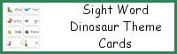 Sight Word Dinosaur Theme Cards Sample