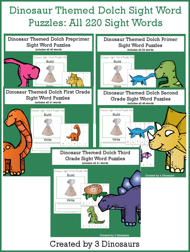 Dinosaur Sight Words Puzzle Bundle - all 220 Dolch Sight Words, build mat and recording sheet - 3Dinosaurs.com #sightwords #dinosaurforkids #puzzles #spelling