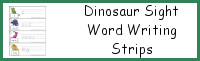 Dinosaur Sight Words Writing & Tracing Strips