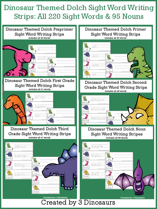 Dinosaur Sight Words Tracing Strips Bundle - all 220 Dolch Sight Words and 95 nouns, build mat and recording sheet - 3Dinosaurs.com #sightwords #dinosaurforkids #tracingpractice #writingpractice