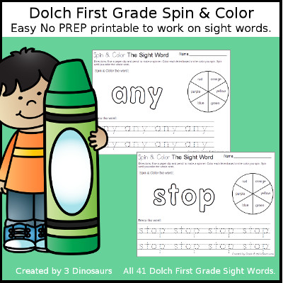 Spin & Color Dolch First Grade Sight Words - all 41 words in the Dolch First Grade $ - 3Dinosaurs.com