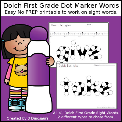 First Sight Word Dot Marker - all 41 first grade sight words - with two options for each word. $ - 3Dinosaurs.com