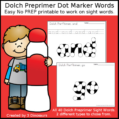 Preprimer Sight Word Dot Marker - all 40 preprimer sight words - with two options for each word. $ - 3Dinosaurs.com