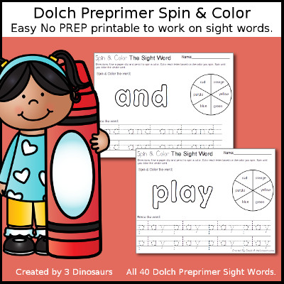 3 Dinosaurs - Dolch Sight Word Spin & Color Samples