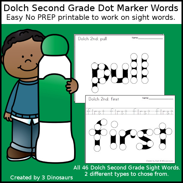 Second Grade Sight Word Dot Marker - all 46 preprimer sight words - with two options for each word. $ - 3Dinosaurs.com