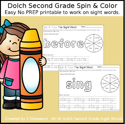 Spin & Color Dolch Second Grade Sight Words - all 46 words in the Dolch Second Grade $ - 3Dinosaurs.com