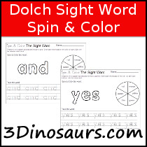 Dolch Sight Word Spin & Color Samples