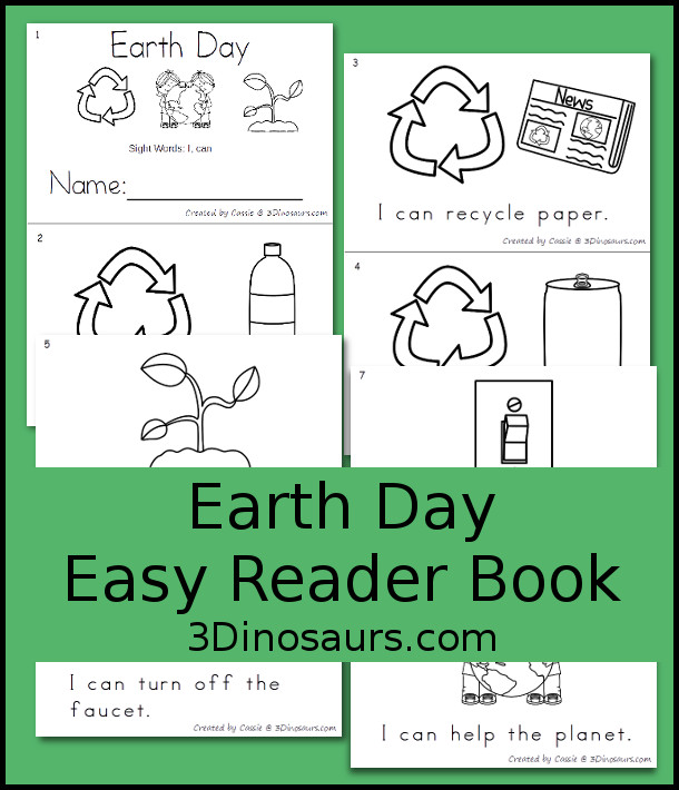 Free Earth Day Easy Reader Book - 3Dinosaurs.com