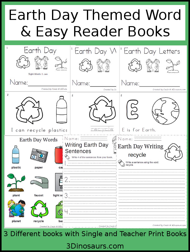 Earth Day Word & Easy Reader Books - 3 book options with teacher print version also includes word chart and writing $3 - 3Dinosaurs.com