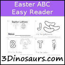 Easter Theme ABC Easy Reader Book - 10 pages - 3Dinosaurs.com