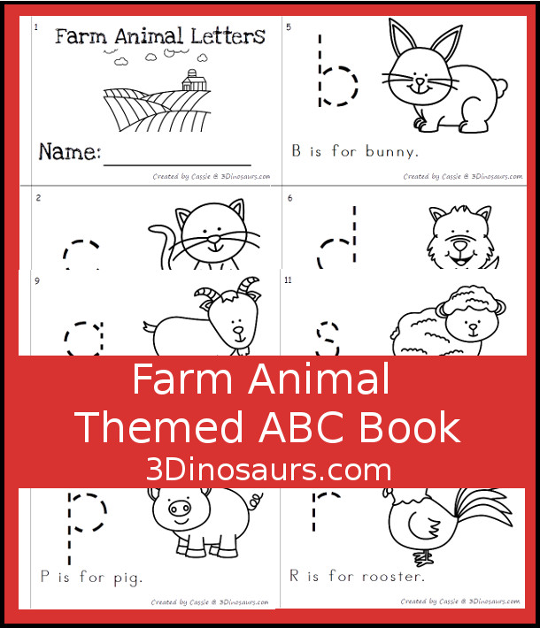 Free Fun Farm Animal ABC Easy Reader Book - 12 page book with abc themes for a farm theme - 3Dinosaurs.com