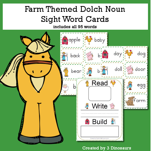 Farm Theme Dolch Noun Sight Words - all 95 words in the Dolch Nouns $ - 3Dinosaurs.com