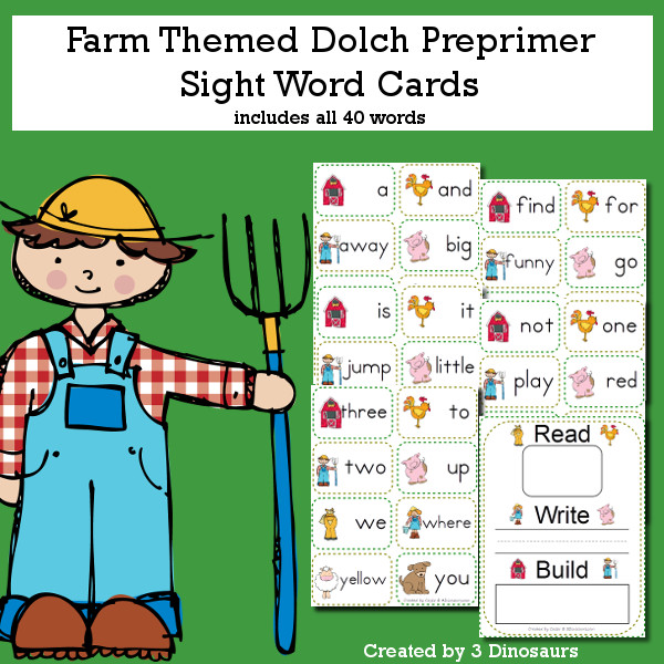 Farm Theme Dolch Preprimer Sight Words - all 40 words in the Dolch Preprimer $ - 3Dinosaurs.com