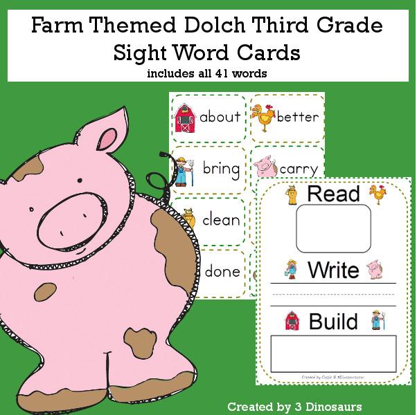 Farm Theme Dolch Third Grade Sight Words - all 41 words in the Dolch Third Grade $ - 3Dinosaurs.com