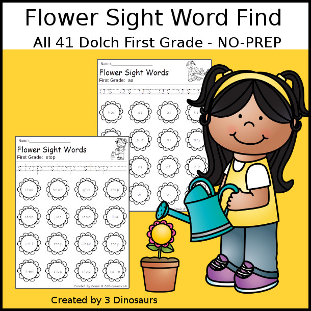 Flower Sight Word Find: First Grade - easy to use no-prep printable $ - 3Dinosaurs.com