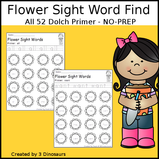 Flower Sight Word Find: Primer - easy to use no-prep printable $ - 3Dinosaurs.com