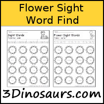 Sight Word Flower Find Samples